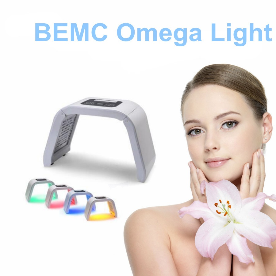 BEMC Factory Price Omega Light LED Therapy Red /Blue/Green/Yellow 4 Color Led Face Mask Light Skin Rejuvenation Wrinkle Removal Salon SPA Beauty Machine